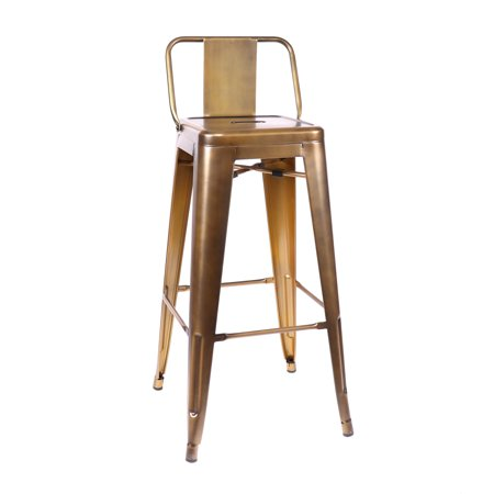 Design Lab MN LS-9100-VBRALB Dreux Vintage Brass Low Back Barstool Set of 4