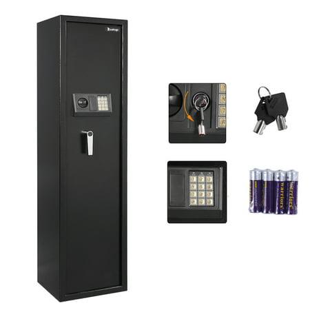 Ktaxon 5-Rifle Safe, Gun Cabinet, Steel Safe Box w/ Digital Keypad & Keys & Top Small Lockbox, for Standing Shotguns, Quick Access 5-Gun Personal Storage