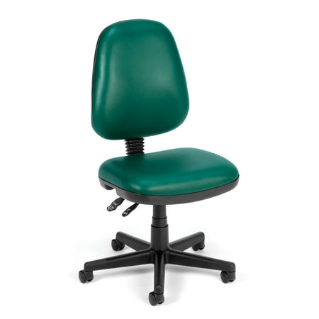 Series Pneumatic Armless Task Chairs (OFM Straton Series Armless Swivel Task Chair, Anti-Microbial/Anti-Bacterial Vinyl, Mid Back, in Teal)