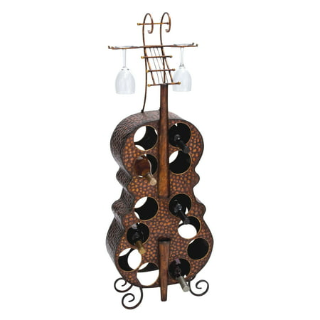 Decmode Antique Finish Metal Wine Holder With Flowery & Leafy Design