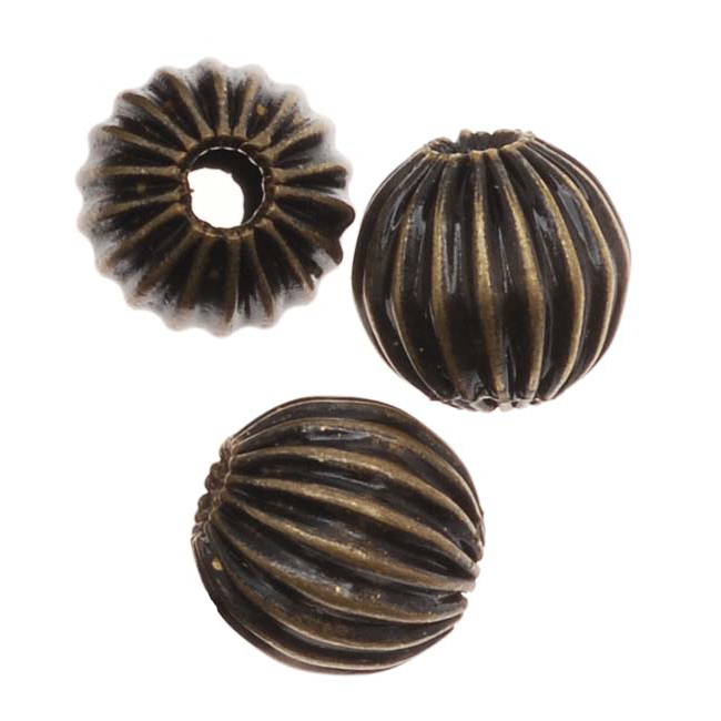 Antiqued Brass Corrugated Round Metal Beads 6mm (20)