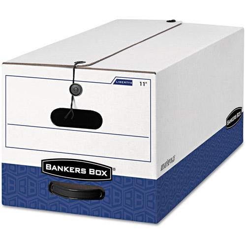 Bankers Box Liberty Max Strength Storage Box, White/Blue, Letter Size, 12/Carton