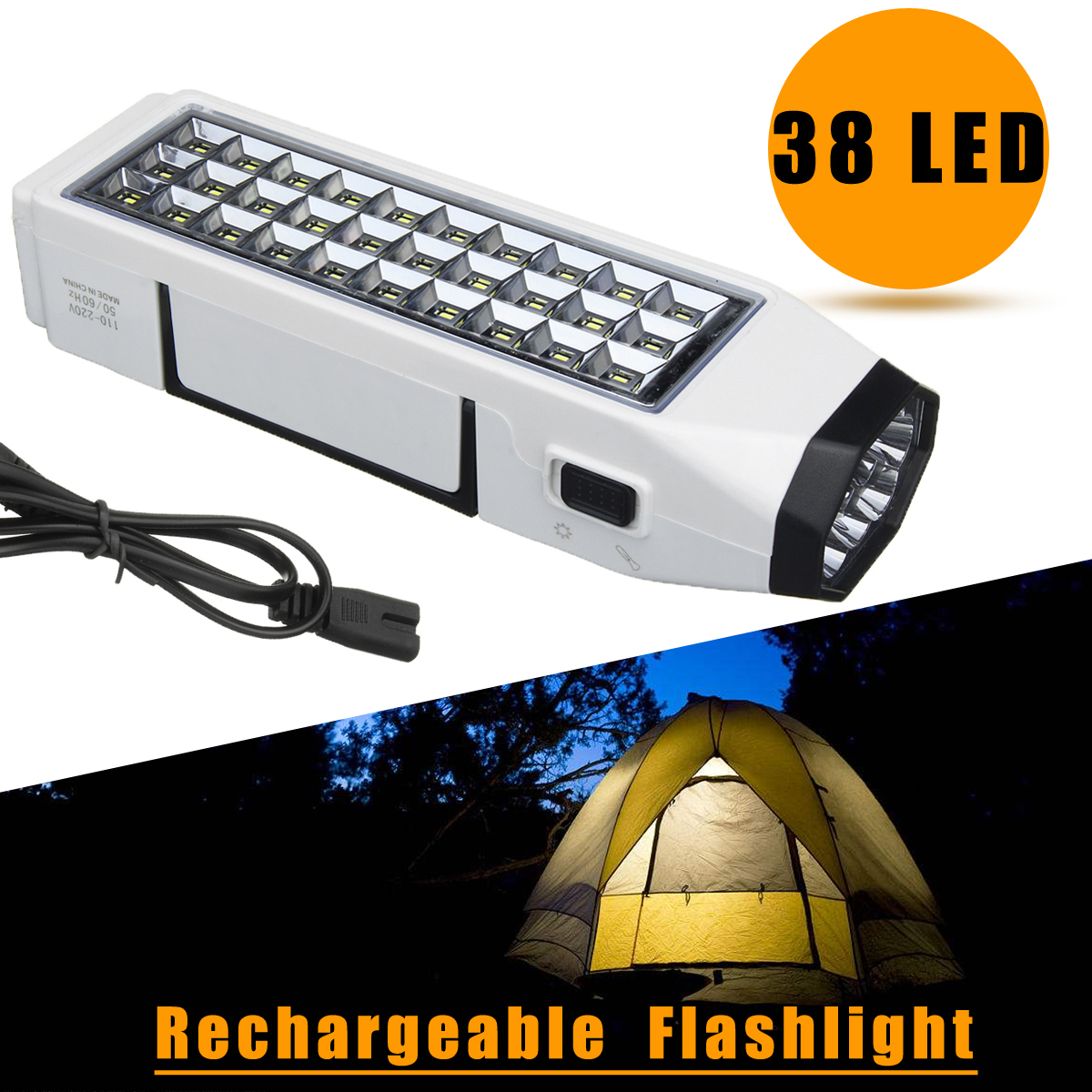 38 LED Flashlight Torch Portable Rechargeable Emergency Light Lamp Home Outdoor Camping 110-220V by