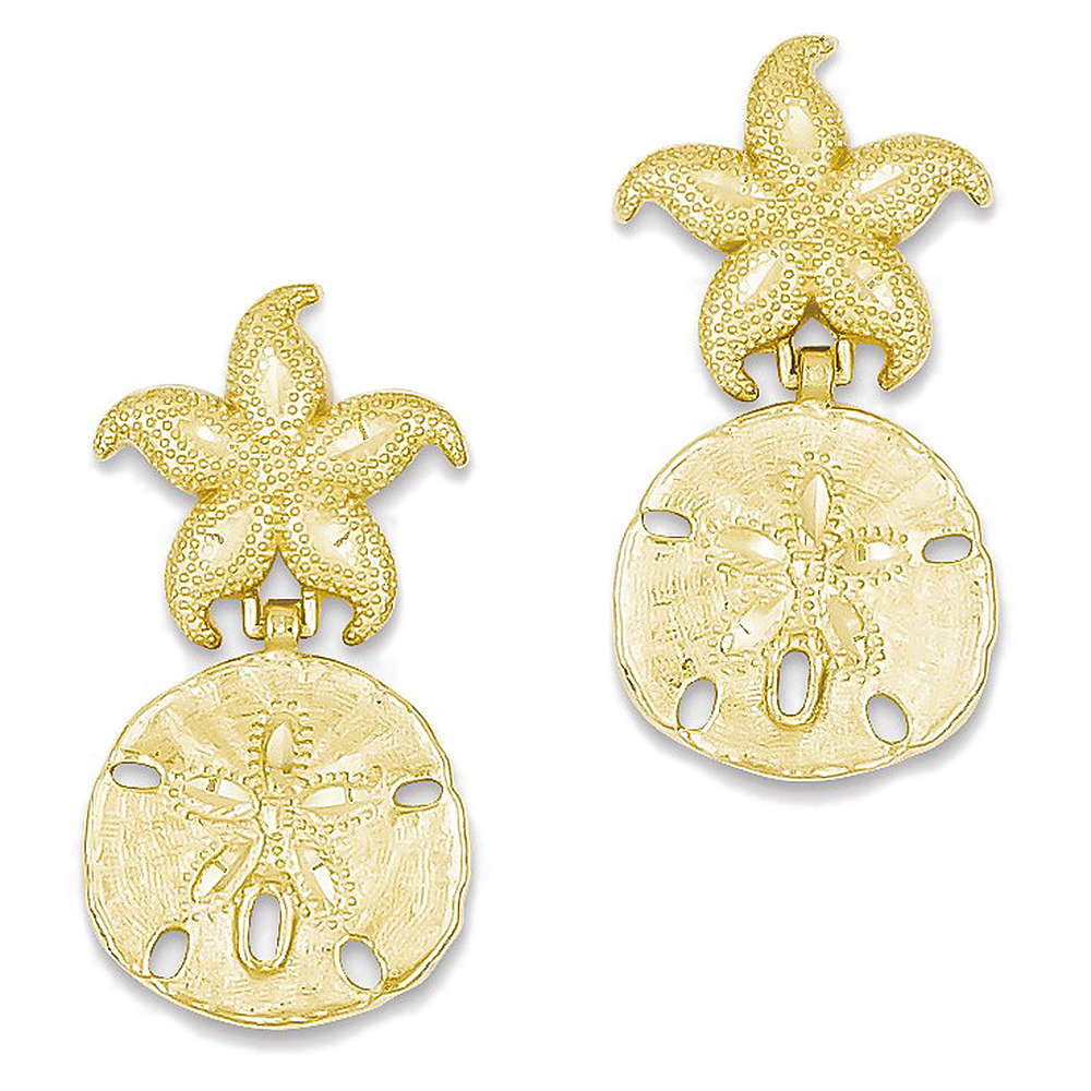 14K Yellow Gold Starfish and Sand Dollar Dangle Earrings