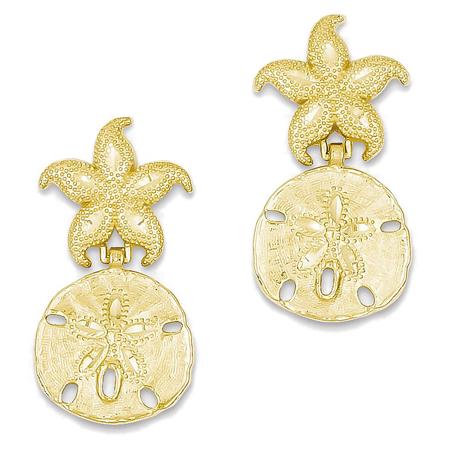 14K Yellow Gold Starfish And Sand Dollar Dangle Earrings