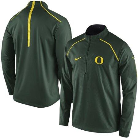 Men's Nike Green Oregon Ducks 2015 Coaches Sideline Alpha Fly Rush 1/4 Zip Performance Jacket