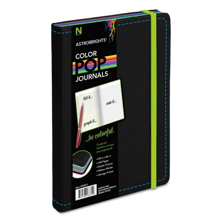 Astrobrights ColorPop Journal, College Ruled, 8 1/4 x 5 1/8, Black, 240 Sheets -NEE98831 (Hardcover College Ruled Journal)