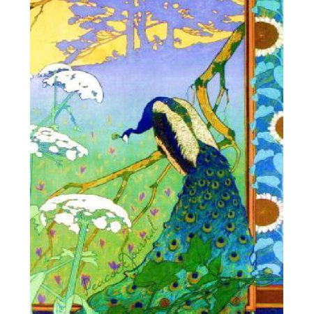 Peacock Journal: Art Nouveau Gifts / Peacock Bird Prints / Stationery / Presents ( 140 Pg Large Ruled Notebook )