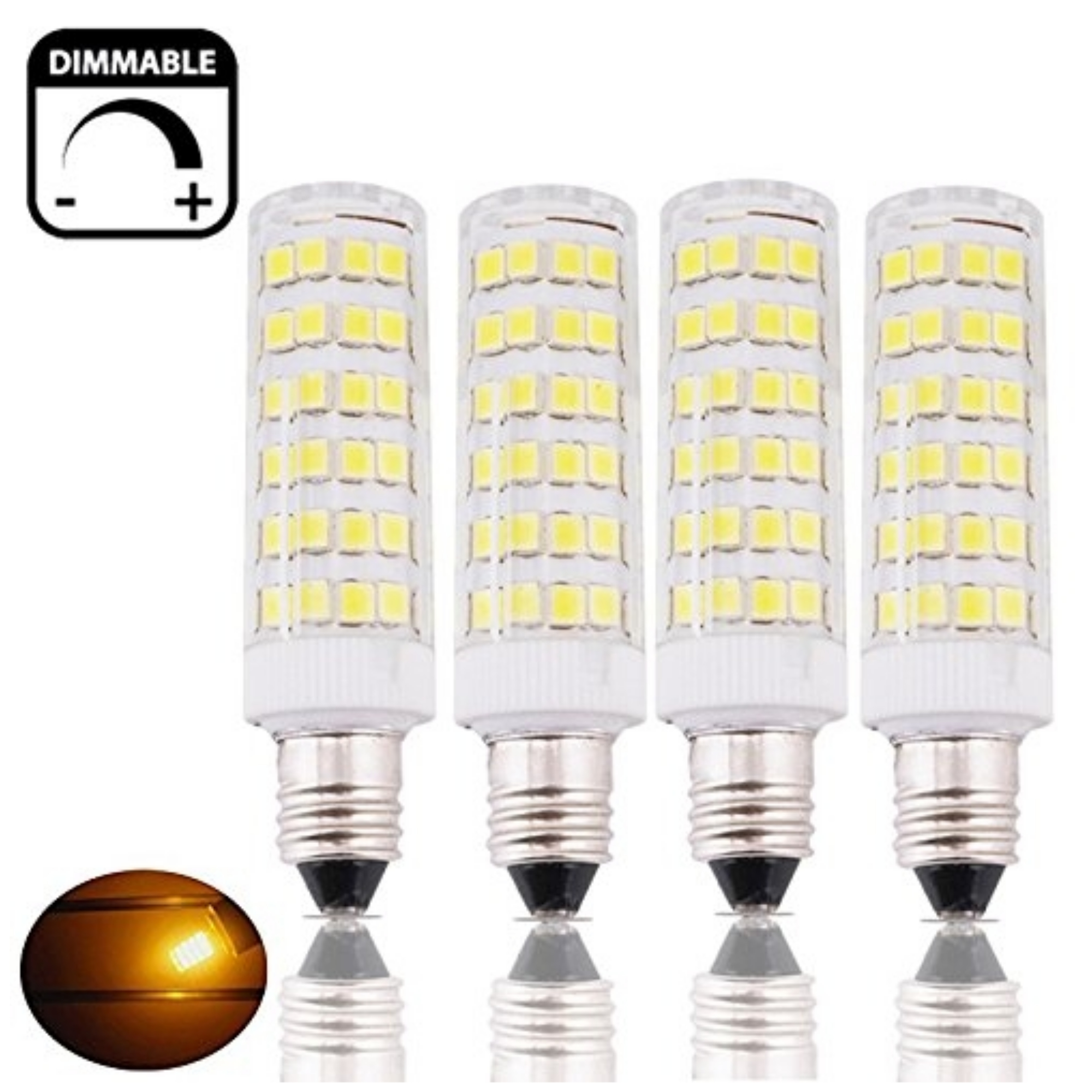 Bonlux Mini E11 T3/T4 Candelabra Base LED Light Bulb, 6W(45W Equivalent), Dimmable, Warm White 2800K, 4-Pack