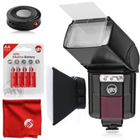 Circuit City CC-125 Automatic Universal Flash with Built-in LED Video Light for Nikon DSLR Cameras Bundle with Circuit City Universal IR Wireless Remote Control and Accessories (4 Items)