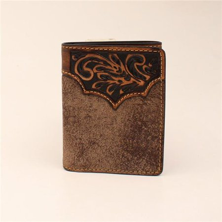 Distressed Tri Fold - 3D Belt DW254 Dude Taupe Distressed Floral Hand Tooled Leather Tri-fold Wallet - 4.25 x 3.25 in.