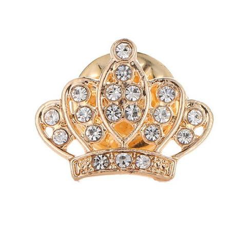 Fashion Full Diamond Crown Full Diamond Brooch Couple Mini Boutonniere Men And Women Suit Shirt Button Collar Needle (Platinum Diamond Brooch)