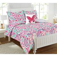 Watercolor Flutter Floral 4-Piece Comforter Set