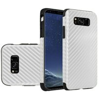 HR Wireless Carbon Fiber TPU Rubber Candy Skin Case Cover For Samsung Galaxy S8 - White