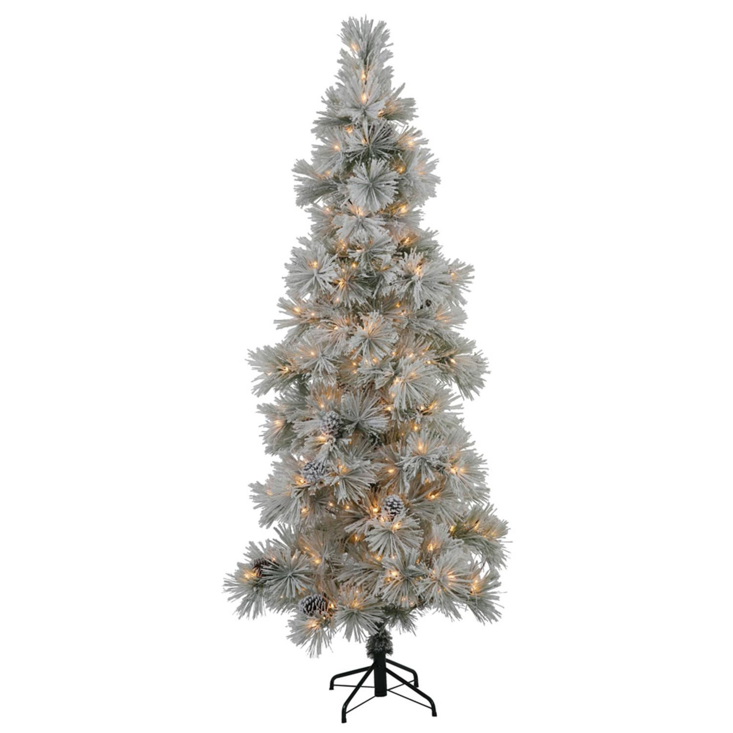 7' Slim Flocked Stone Pine Silver Colored Artificial Christmas Tree - Clear Dura Lights