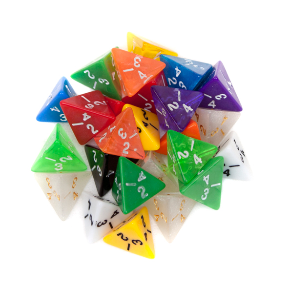 25 Pack of Random D4 Polyhedral Dice in Multiple Colors