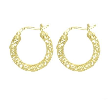 Image of American Designs 10kt Solid Yellow Gold Petite Hoop 3 Dimensional (3D) Earrings