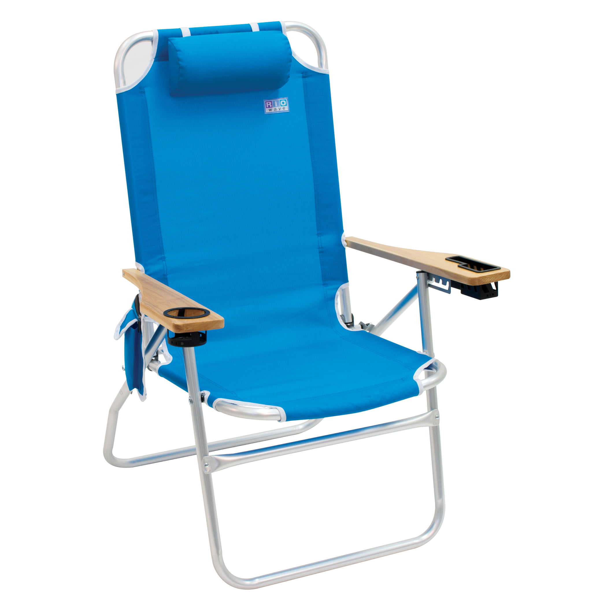 Rio Beach Chair The Shot 4 Position Aluminum Frame With Wood Arms Blue
