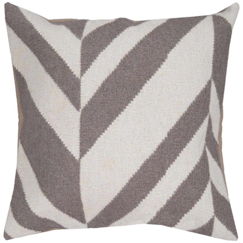 """22"""" Elephant Gray and Winter White Chevron Decorative Down Throw Pillow"""