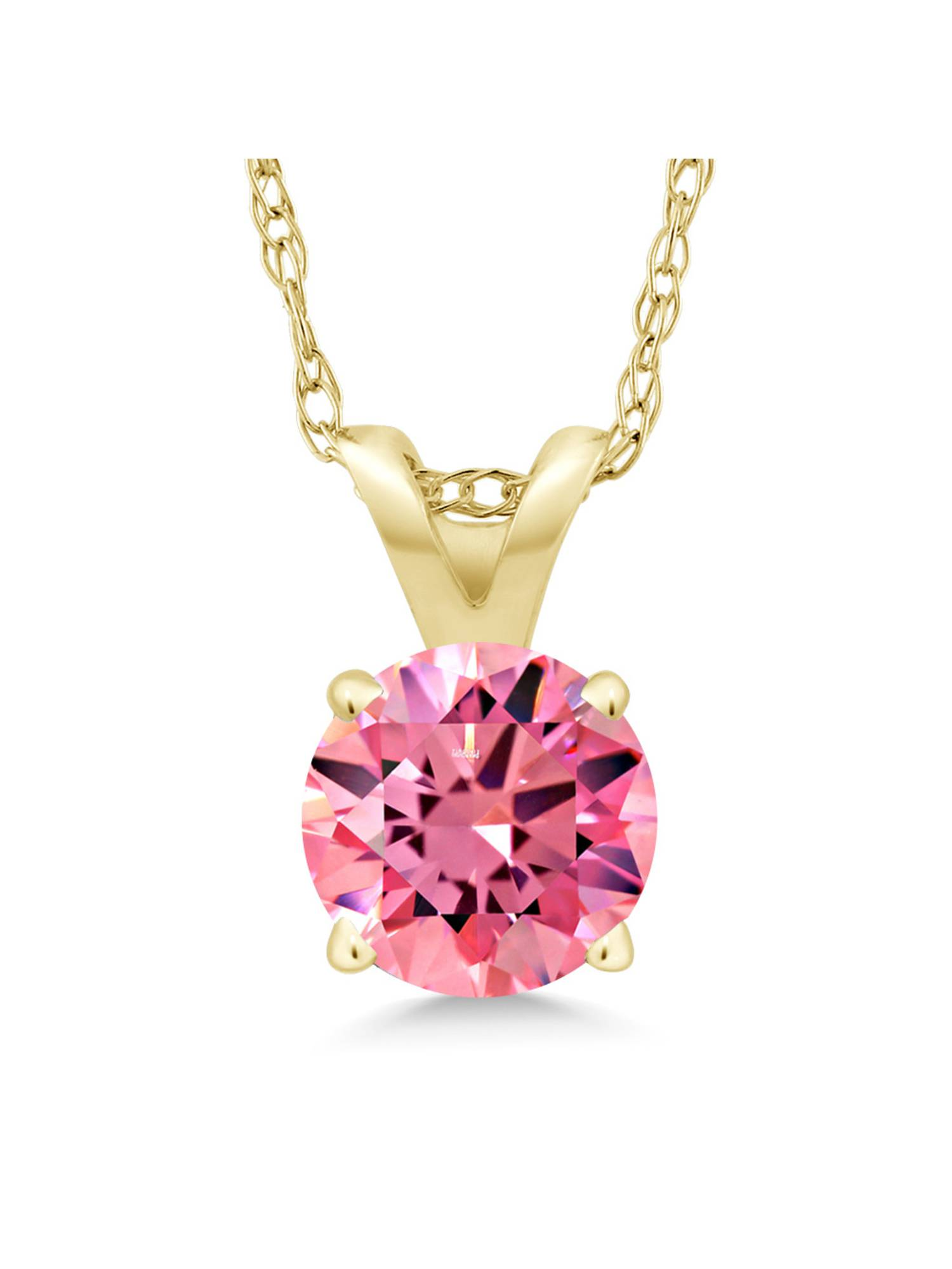 0.46 Ct Fancy Pink 14K Yellow Gold Pendant Made With Swarovski Zirconia by