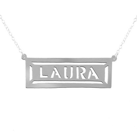 - Personalized Handmade Nameplate Framed Bar Name Necklace in Sterling Silver or 24K Gold Plated Sterling Silver