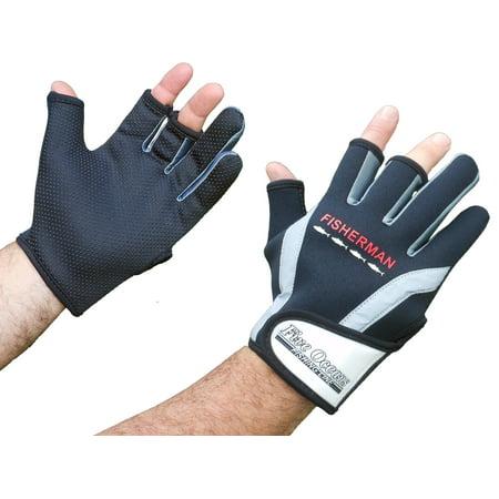 Lined Neoprene Gloves (Five Oceans Fishing Gloves Half Finger Neoprene Size M - FO-3772 )