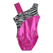 O3GL033 Obersee Girl's Girls Gymnastics Leotard - Pink Zebra