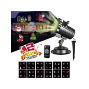 LED Projector Christmas Snowflake Lights Moving Laser Projection 12 Switchable Patterns Slides