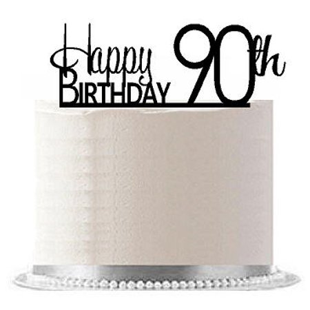 ItemAE 194 Happy 90th Birthday Agemilestone Elegant Cake Topper