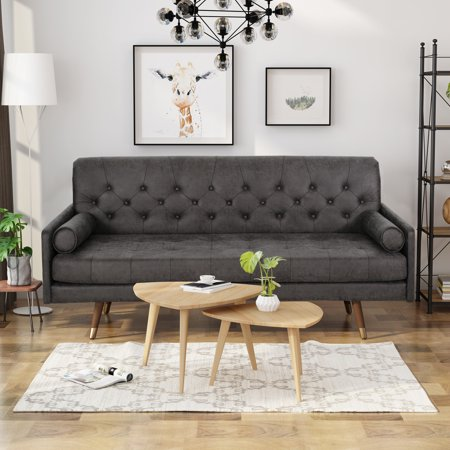 Noble House Kaliel Mid Century Modern Microfiber Sofa with Button Accents, Slate