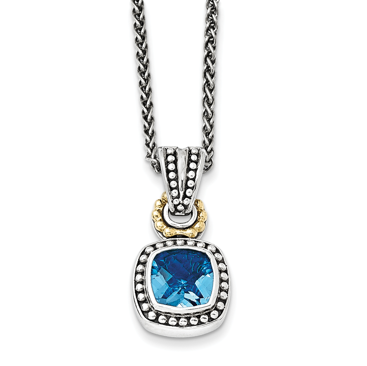 Roy Rose Jewelry Sterling Silver and 14K Gold Antiqued Blue Topaz Necklace ~ Length 18'' inches by