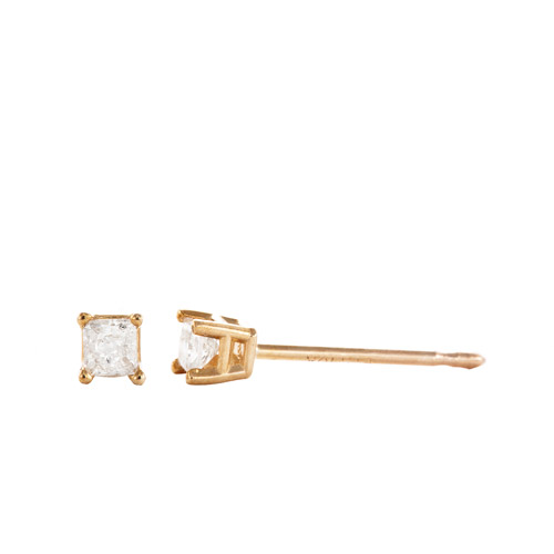 1/10 Carat T.W. Princess Cut Diamond 10kt Yellow Gold Stud Earrings
