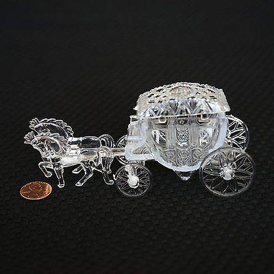 Vintage Fairy Tale Cinderella Horse and Carriage Coach Cake Topper Clear