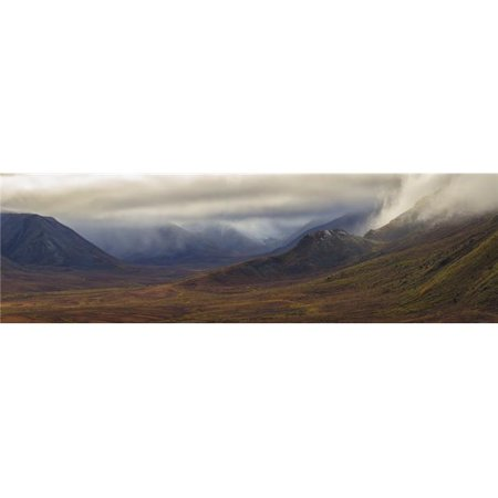 The Blackstone Valley Along The Dempster Highway is Shrouded in Clouds in Autumn - Yukon Canada Poster Print - 44 x 13 in. - Large - image 1 de 1