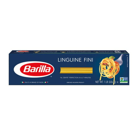 (4 pack) Barilla Pasta Linguine Fini, 16 oz At Barilla, we're passionate about pasta. After all, we have been pasta makers since 1877. As an Italian family-owned food company, Barilla pasta is synonymous with high quality and  al dente  perfection every time. Our Linguine Fini is made from the finest durum wheat and is non-GMO verified, peanut-free and suitable for a vegan or vegetarian diet. Perfect for twirling, too!