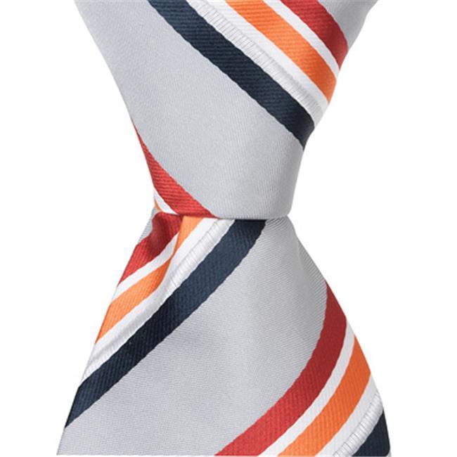 Matching Tie Guy 5275 XS24 - 9.5 in. Zipper Necktie - Grey With Red, Orange, White, & Navy Stripes, 6 to 18 Month - image 1 de 1