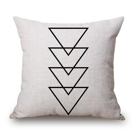 Black And White Decorative Design (18 X 18 Inch Black and White Simple Geometric Designs Cotton Linen Decorative Throw Pillow Cover Cushion Case Pillowcase(B, 6))