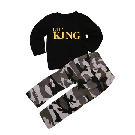 Toddler Baby Boy Casual Long Sleeve King Black Shirts Tops and Camouflage Pants Outfits Clothes](King Outfits For Adults)