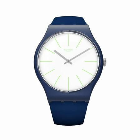 Swatch Unisex Bluesounds 41mm Silicone Band Plastic Case Swiss Quartz White Dial Analog Watch SUON127