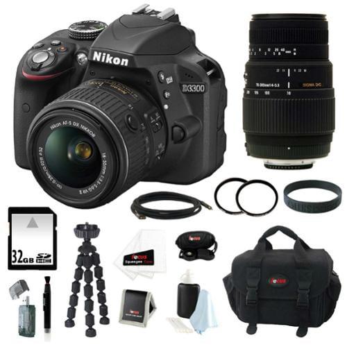 Nikon D3300 DSLR Camera with 18-55mm and 70-300mm Lens Bundle