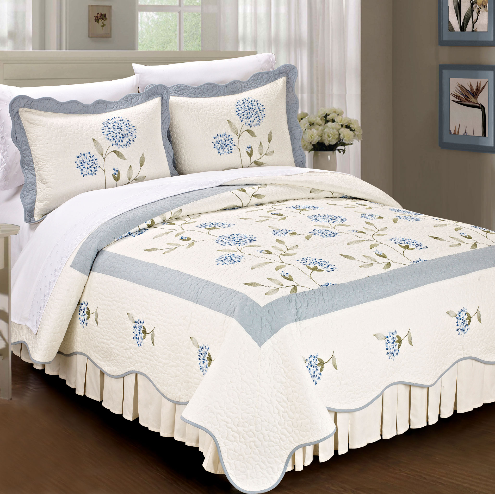 Serenta Sun Flowers Classic 3 Piece 100% Cotton Quilted Coverlet Bed Spread Set