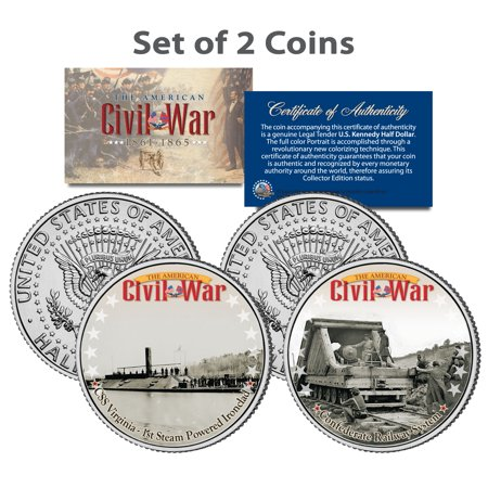 Civil War CSS VIRGINIA SHIP & CONFEDERATE RAILWAY JFK Half Dollar US 2-Coin Set