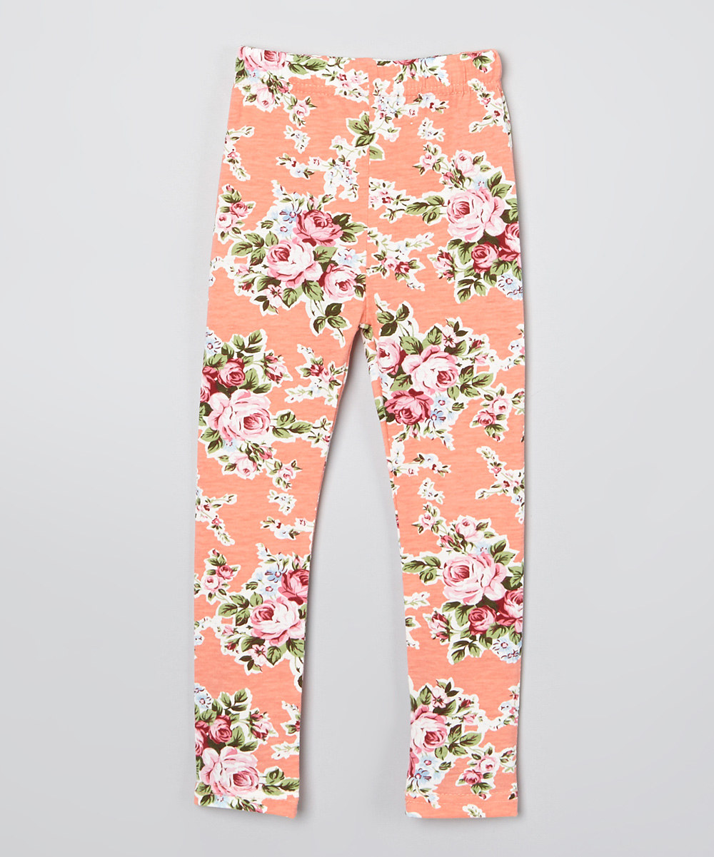 Girls' Peach Floral Print Leggings