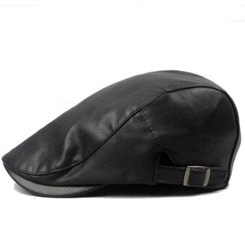 PU Leather Vintage Style Newsboy Duckbill Ivy Cap Driving Casual Flat Beret Hat
