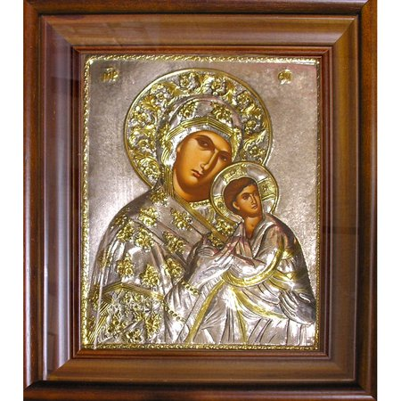 Religious Icon Virgin Mary & Child Silver 925 Hand Painted Icon in Wooden Frame With Glass 14-1/2 x 12-1/4 Inches by World Faith
