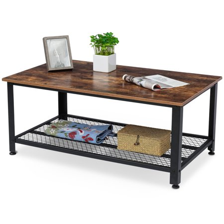KingSo Rustic Coffee Table Industrial Sofa Table Vintage Cocktail Wood End Table with Storage Shelf, Wood Look Accent Furniture with Metal Frame, Easy Assembly, for Living Room ()