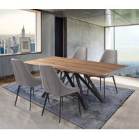 Modena Mid-Century Walnut Wood 5 Piece Dining Set
