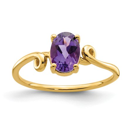14K Yellow Gold 1 MM Oval Amethyst Ring, Size 5.5