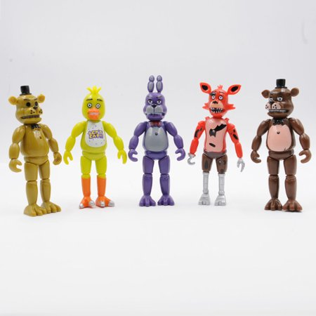 5Pcs Five Nights At Freddys 6  Fnaf Action Figures With Light Toys Kids Gift