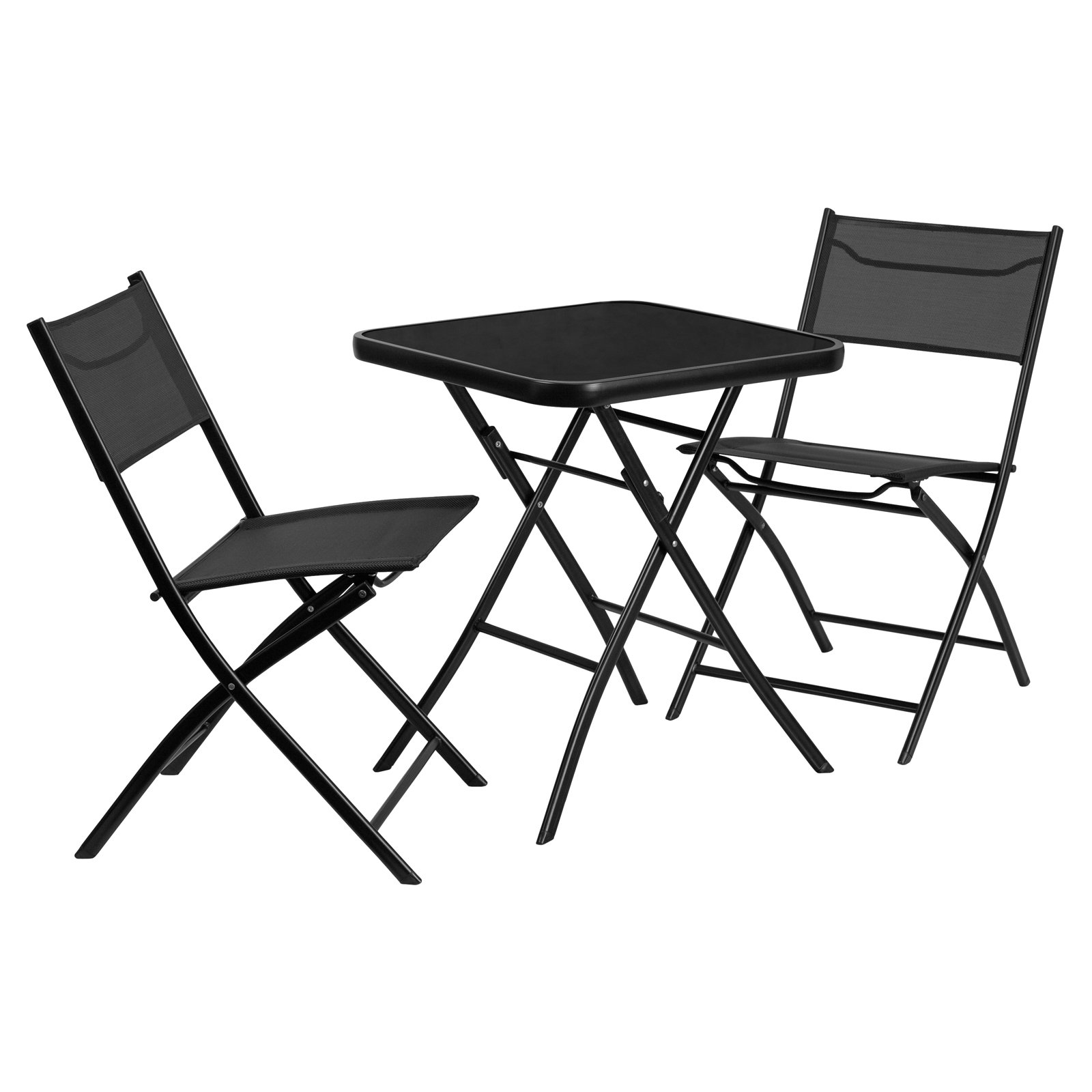 Flash Furniture 23.75'' Square Tempered Glass Metal Outdoor Table with 2 Textilene Fabric Folding Chairs